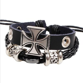 Hot Selling Ancient Rome Personalized Cross Cowhide Men's Bracelet Handmade Braided Adjustable Jewelry