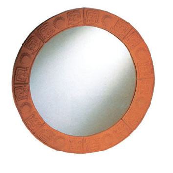 New Generation large round mirror with embossed terra cotta border