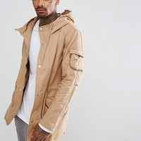 Bershka Parka Jacket In Tan at asos.com