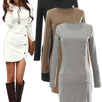 'The Kim' Button Long Sleeve Mini Dress
