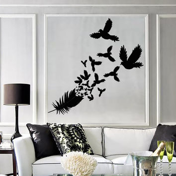 Vinyl Decal Feather Birds Bedroom Decor Living Room Decor Wall Stickers (ig2713)