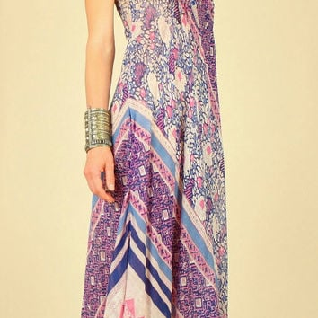 ViNtAgE 60's India Gypsy Cotton Voile Patchwork Hippie Festival Dress