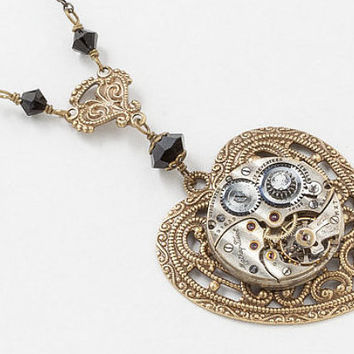 Gold Heart Pendant with Antique Silver Watch Movement on Victorian Flower Filigree
