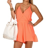 Sale-neon Coral Caged Back Romper
