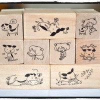 Puppy Dog Wooden Rubber Stamps 9 pieces Korean stationery