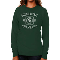 Michigan State Spartans Women's University Lockup Long Sleeve Slim Fit T-Shirt - Green