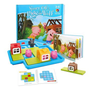 Montessori Toys With 48 Challenges Children's Learning Toys For Thinking and Motor Skills Three Little Pigs