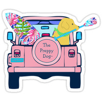 'Preppy Pink Jeep Golden Retriever SUP Board' Sticker by emrdesigns