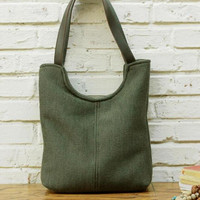 SimpleWind-Original Handmade Bag-Casual Wool Bag-Tote bag-Retro Canvas Bag-Army Green Tote Bag-Wool Shoulder Bag for Women