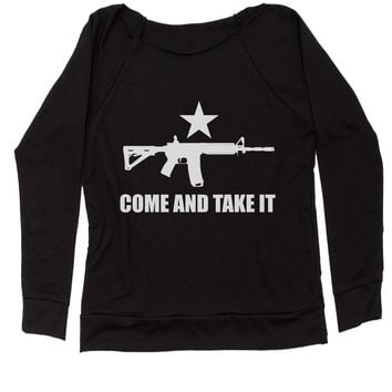 Come And Take It 2nd Amendment Gun Rights Slouchy Off Shoulder Oversized Sweatshirt