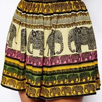 ASOS Flippy Skater Skirt In Elephant Print