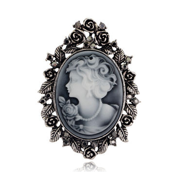 Vintage Brooches For Women Elegant Gold or Silver Trendy Beauty Head Cameo Brooch Austria Crystal
