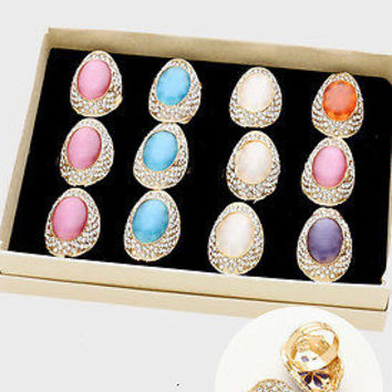 12 PIECE RINGS MIX Gemstone Fashion Jewelry Women Gift Silver Ring MIX LOT