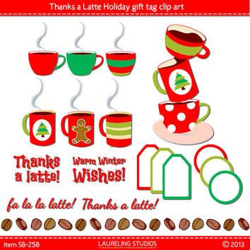 thanks a latte holiday label clip art, christmas gift tag coffee cup cocoa clipart DIGITAL DOWNLOAD CA258