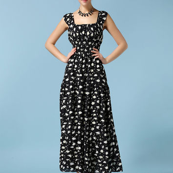Floral Sleeveless Square Neckline Chiffon Empire Maxi Dress