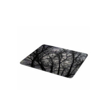 Decorative Glass Cutting Board-Haunted, black grey, trees, nature, spooky, kitchen, newlyweds, new home, gift, home decor-Made To Order-H#07