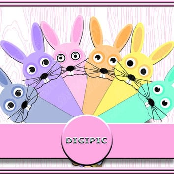 COMMERCIAL USE OK, 6 Printable, Scrapbooking, Clipart, Digital, Pastel, Cute Easter Rabbits, Bookmarks, 300Dpi, Instant Download