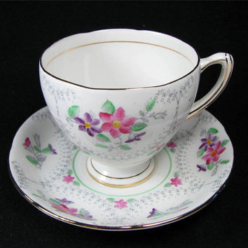 """Vintage ROYAL GRAFTON Bone CHINA Tea Cup and Saucer """"Marina"""" Pattern Made in England, Lovely!"""