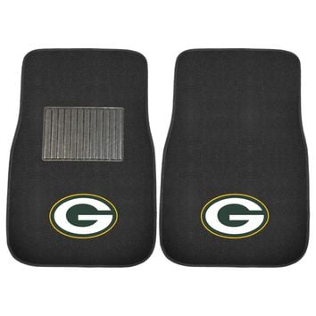 Green Bay Packers 2 Piece Embroidered Car Auto Floor Mats
