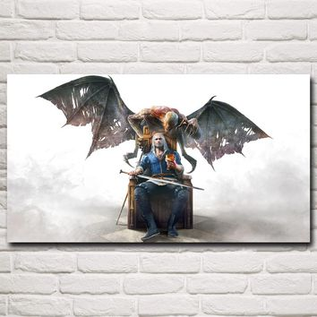 FOOCAME The Witcher 3: Wild Hunt Geralt of Rivia Game Art Silk Poster Prints Home Wall Decor Painting 11x20 20x36 30x54 Inch