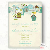 Blue Bird Housewarming Party Invitation (Printable) Rustic Housewarming Invitation, House Warming Party Invitation, House Warming Invitation
