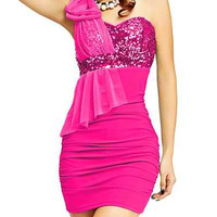 Bow Tie Sequin Color Matching Mini Dress