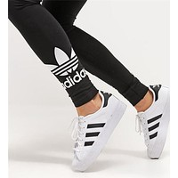 Adidas Classic Women Retro Black Running Yoga Leggings Sweatpants