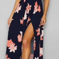 Backless Floral Spaghetti Strap Maxi Prom Dress