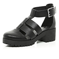 River Island Womens Black chunky cut out cleated sole shoes
