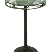 Metal Glass Accent Table Designed As A Movie Reel