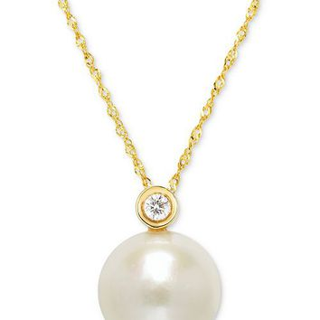 "Macy's Cultured Freshwater Pearl (12mm) and Diamond Accent Pendant Necklace in 14k Gold, 16"" + 2"" Extender Jewelry & Watches - Necklaces - Macy's"