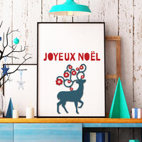 Joyeux print - French holiday decor -  Christmas quote print - Winter decor - Holiday decor - Mantel decor - Christmas wall art