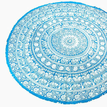 Turquoise Elephant Multi-way Round Beach Throw with Tassel Trim Beach blanket / Beach towel / Wrap / Rug