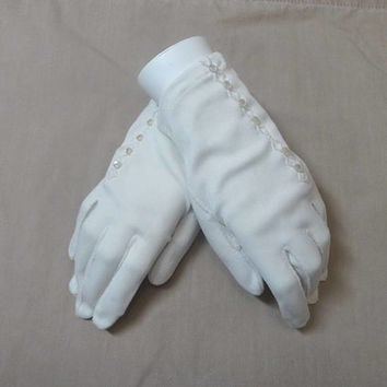 1960s Vintage Lady's Fashion Gloves by Fownes, Size 7.5-8.5, Enchante Antron Nylon, Tiny Button Details, Vintage Gloves, Costume, Dress Up