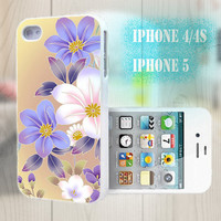 unique iphone case, i phone 4 4s 5 case,cool cute iphone4 iphone4s 5 case,stylish plastic rubber cases cover, yellow purple  floral  bp2926