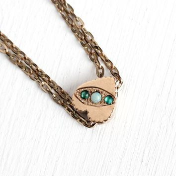 Antique Slide Chain - 1900s Rose Gold Filled Genuine Opal Simulated Emerald Necklace - Edwardian 10k Gold Charm Pocket Watch Layered Jewelry