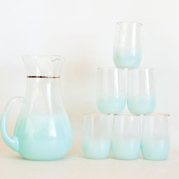 Vintage Blue BLENDO Pitcher and Tumbler Set, 1960s Turquoise Soft Blue, 5 Piece, Cocktail Mixed Drinks, West Virginia Glass, Barware