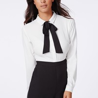 Missguided - Brianna Chiffon Bow Tailored Romper Monochrome