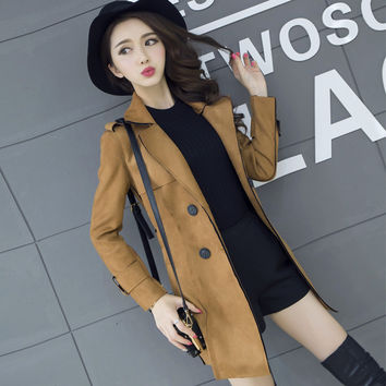 Solid color suede trench coat for women casual wear double-breasted long section outerwear trench coat female trench coat TT529