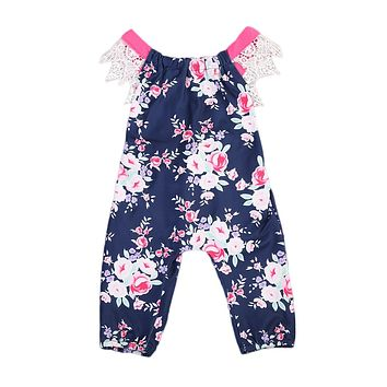 Toddler Baby Girls Romper Floral Lace Ruffles Sleeve Backless Jumpsuit Sunsuit HOT 0-24M