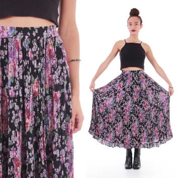 70s Rayon Floral Maxi Skirt Boho Hippie Festival India Printed Vintage Clothing Womens Size Small