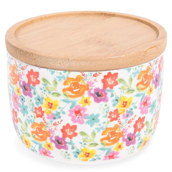 Floral print faience pot H 7 cm GARDEN PARTY | Maisons du Monde