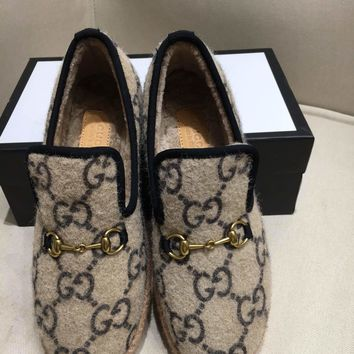New Gucci Gucci women's fashion casual wool loafers woolen face wool peas shoes