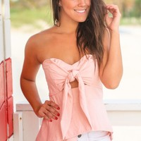 Pink Layered Tube Top with Tie Front