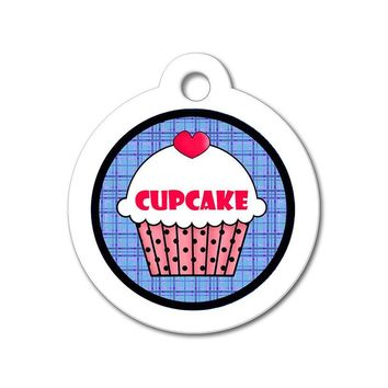 Red Cupcake with Blue Pattern - Cute Pet Tag