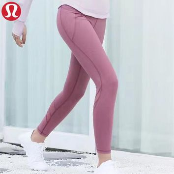 Lululemon New fashion solid color women sports  leisure pants Pink