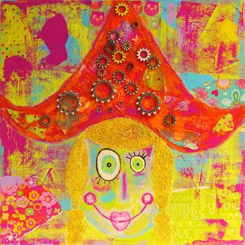 It's A Small World Whimsical Girl Giclee Print
