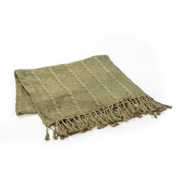 SAGE CABLE AND TWIST KNIT THROW