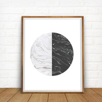Geometric print, Circle artwork, Marble Textured, Mid century modern design, Geometric Abstract Artwork, Grey Decor, Black and White Poster