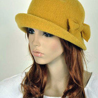 Cute Bow Winter  Wool Fashion Lady Women's Dress Hat Beanie 2-Way-Use 2-Colors
